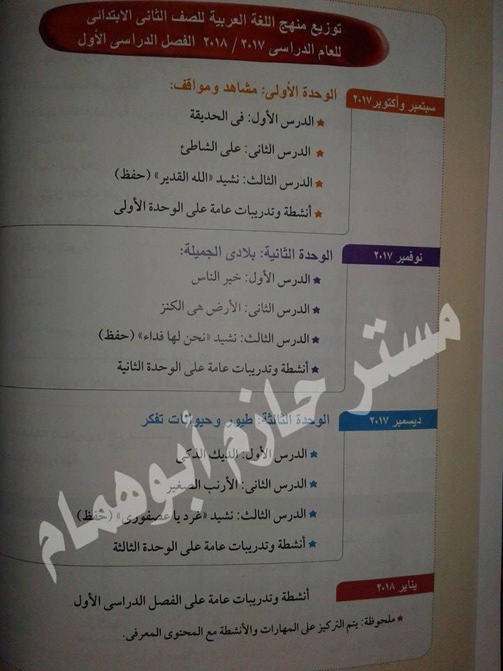 توزيع منهج اللغة العربية للصف الثاني الابتدائي الفصل الدراسى الأول 2017 ـ 2018  116