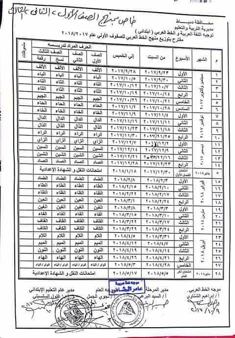 توزيع مناهج الخط للصف الاول والثاني والثالث والرابع الابتدائي 2018 169