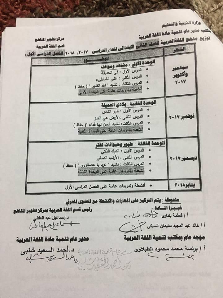 توزيع منهج اللغة العربية للصف الثاني الابتدائي الفصل الدراسى الأول 2017 ـ 2018  2-110