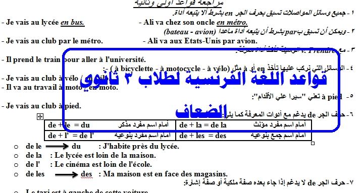 ملخص قواعد اللغة الفرنسية لطلاب 3 ثانوي الضعاف في القواعد 20013