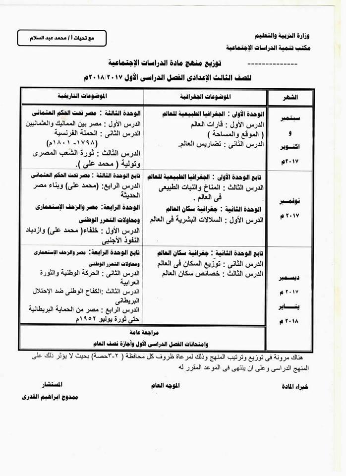 توزيع منهج الدراسات الاجتماعية للمرحلة الاعدادية الفصل الدراسي الاول 2018 21231310