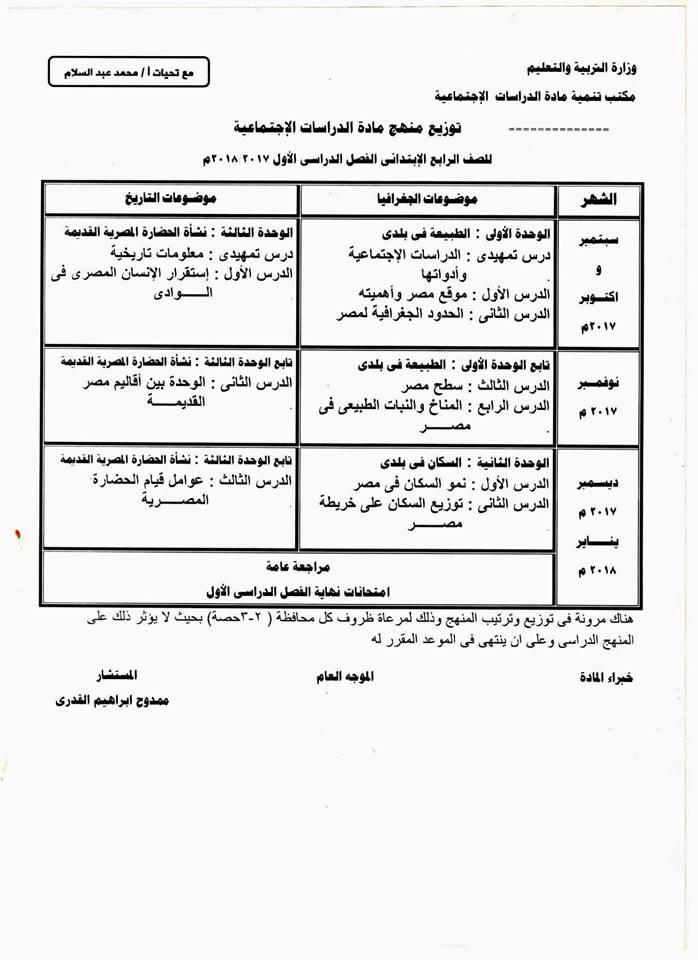 توزيع منهج الدراسات الاجتماعية للمرحلة الابتدائية فصل دراسي أول 2018 21271010