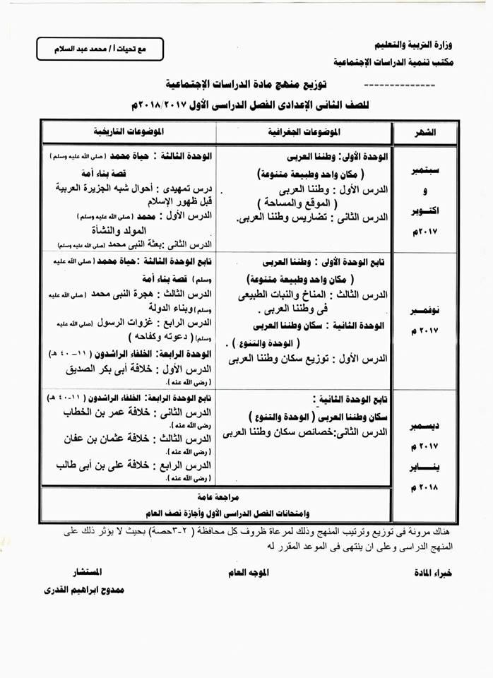 توزيع منهج الدراسات الاجتماعية للمرحلة الاعدادية الفصل الدراسي الاول 2018 21314610