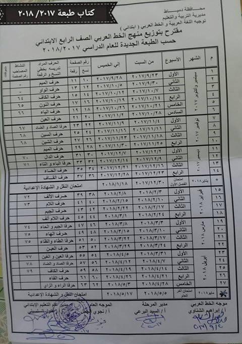 توزيع مناهج الخط للصف الاول والثاني والثالث والرابع الابتدائي 2018 276
