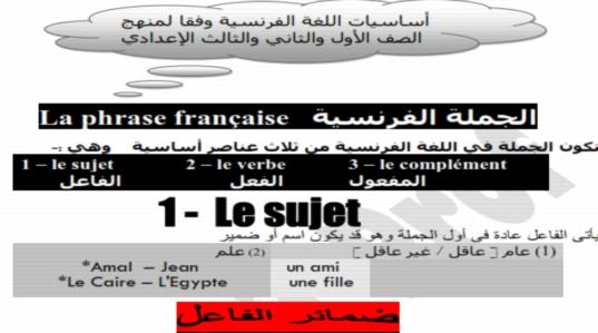 مذكرة شرح قواعد اللغه الفرنسية للصفوف الاعدادية في 16 ورقة فقط 284