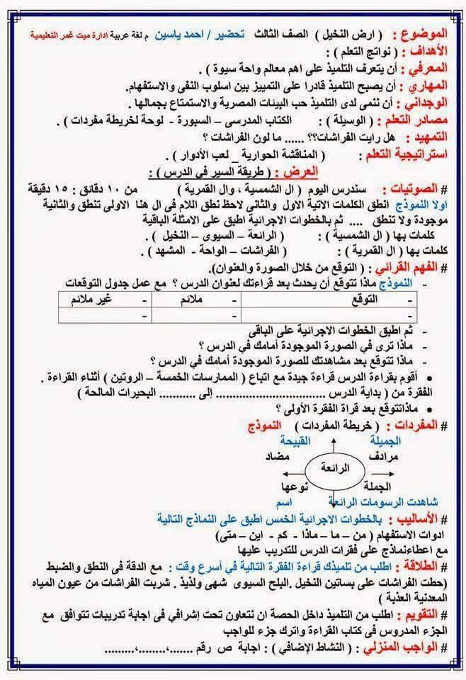 نماذج تحضير لغة عربية للصفوف الابتدائية باستخدام محاور القرائية 3a_oei10