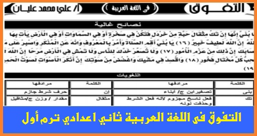 """سلسلة التفوق"""" اقوى مذكرة لغة عربية للصف الثاني الاعدادي ترم أول 68 ورقة pdf 663310"""