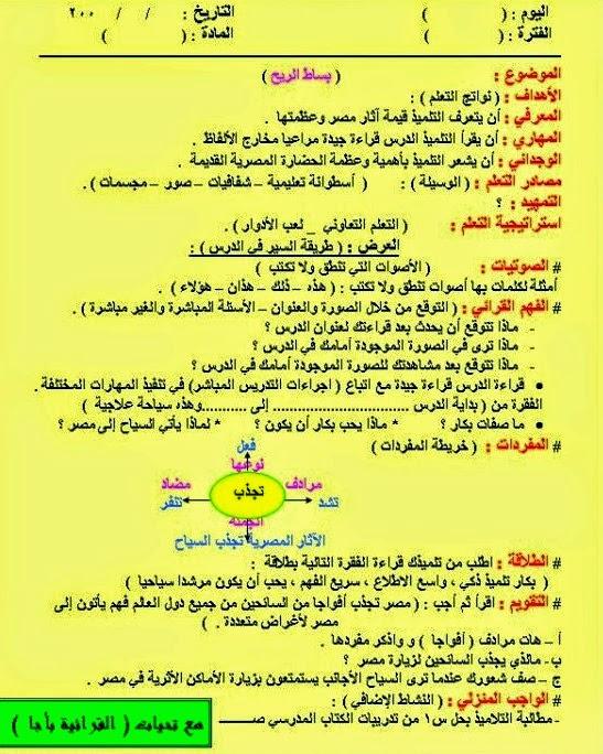 نماذج تحضير لغة عربية للصفوف الابتدائية باستخدام محاور القرائية 6a_ooe10