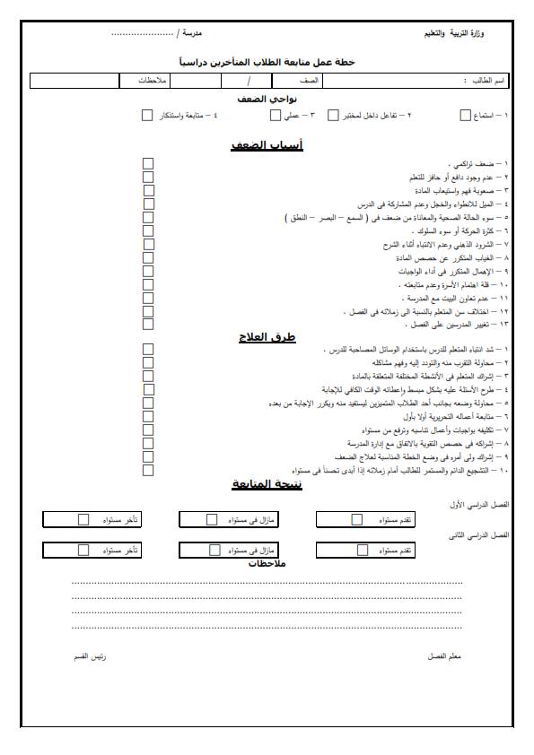 سجلات الطلاب الضعاف شاملة الأسباب وطرق العلاج  _o_ooi11