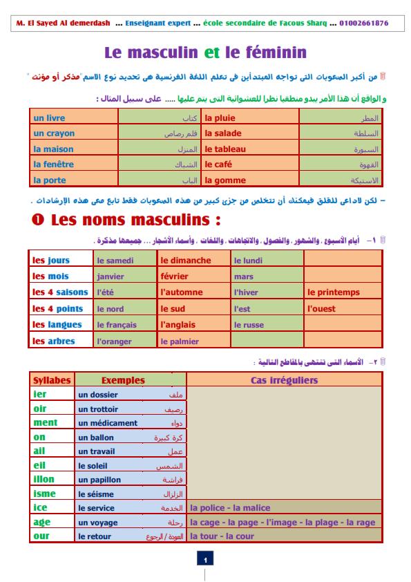 """لغة فرنسية: كيفية التعرف علي نوع الاسم """" مذكر او مؤنث """" بطريقة رائعة  مسيو السيد الدمرداش  Mascul11"""