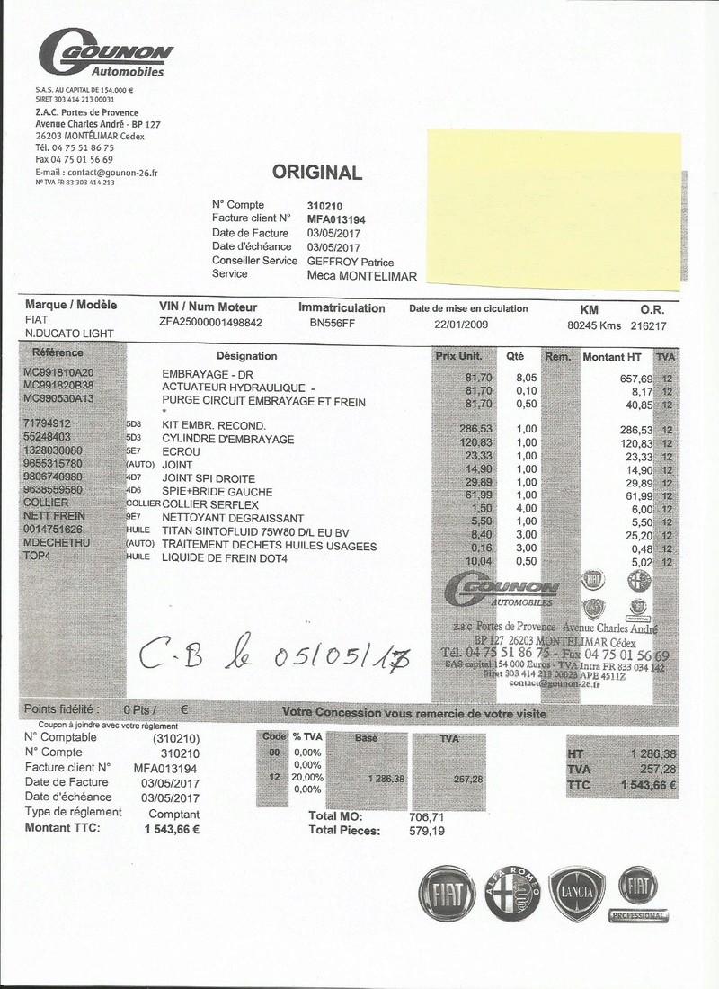 Embrayage Fiat Ducato 2,3l 120CV Factur10