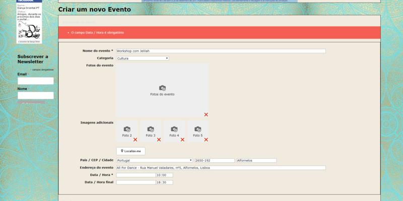Erro ao criar Evento Erro_e10