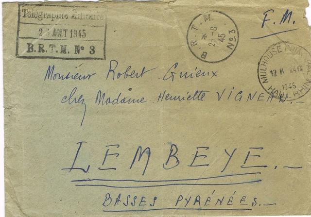TAD  «  B.R.T.M. N° 3  »  à  MULHOUSE Le bureau régulateur de télégraphie militaire (BRTM) .  Ccf07010