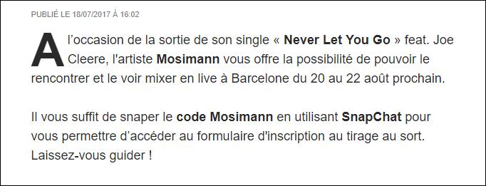 {[24/07/2017)}  Snapez et partez peut-être à Barcelone pour aller voir mixer Mosimann Casqu130