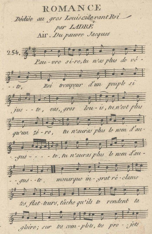 """La mélodie ou les paroles de la chanson """"Pauvre Jacques"""" attribuées à Marie-Antoinette ?  Romanc10"""