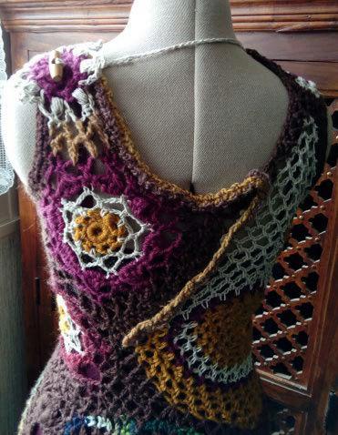 FREE FORM CROCHET : Robe au Crochet Laine Automne  Croche15