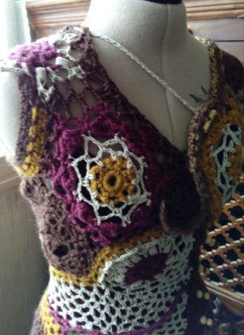 FREE FORM CROCHET : Robe au Crochet Laine Automne  Croche16