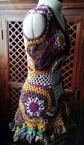FREE FORM CROCHET : Robe au Crochet Laine Automne  Croche17