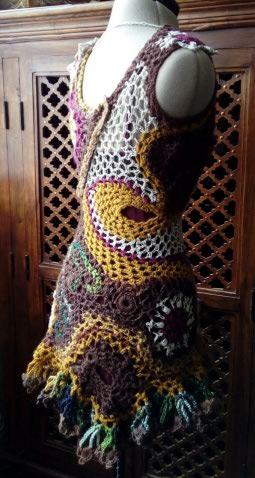 FREE FORM CROCHET : Robe au Crochet Laine Automne  Croche18