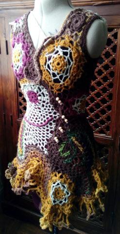 FREE FORM CROCHET : Robe au Crochet Laine Automne  Croche19