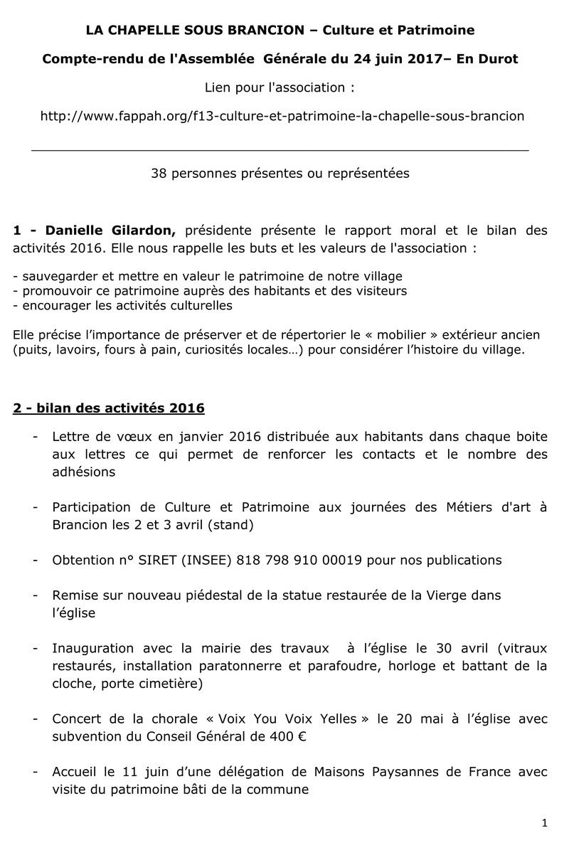 compte-rendu de l'Assemblée Générale du 24 juin 2017 110