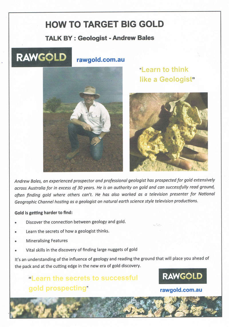 """Geologist Andrew Bales will be at the Bash this year giving lectures on """"How to find Big Gold"""" Ccf03110"""