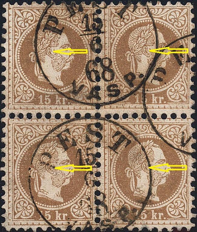 Freimarken-Ausgabe 1867 : Kopfbildnis Kaiser Franz Joseph I - Seite 18 15_kr_10
