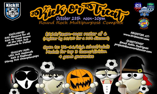 Kick It 3v3 - Kick or Treat with us in Round Rock! Kickor10