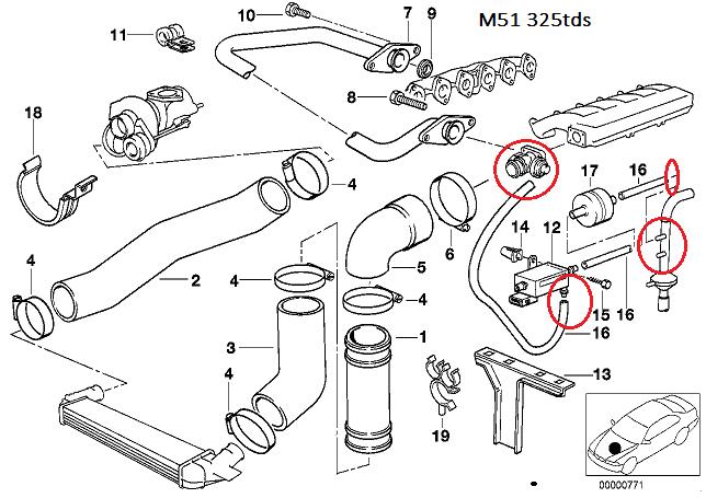 [ BMW e36 325 tds M51 an 1995 ] Branchement durite pompe a vide. 11_m5110