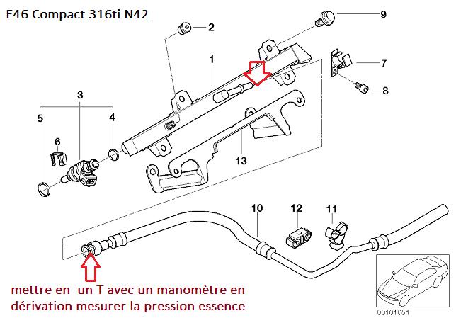 [ BMW E46 316ti N42 an 2001 ] pas de précharge pompe à essence 13_e4611