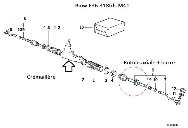 [ BMW E36 318 tds an 1997 ] Changement rotule axiale sortie de crémaillère 32_cry10