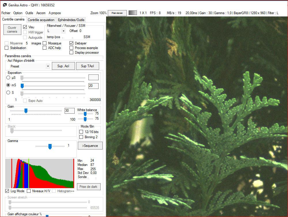 Genika Astro (logiciel de capture de séquences video orienté pour l'imagerie planétaire) Cam10