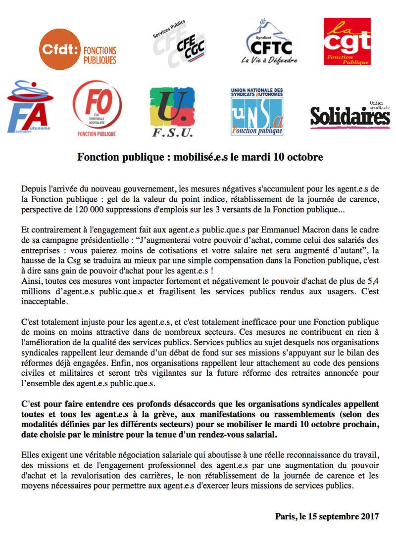 Grève intersyndicale du 10 octobre : contre la casse de la fonction publique Captur17