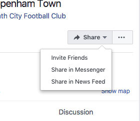 Sharing fixture facebook events pages.  Screen10
