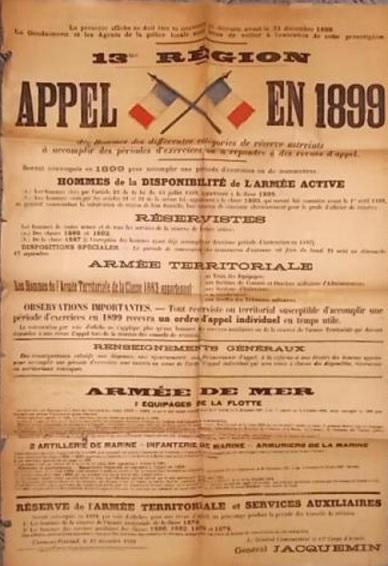 Affiche appel des réservistes - 1899 113
