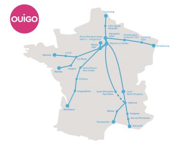 TGV OUIGO VERS RENNES etNANTES AU DEPART DE MONTPARNASSE DES DECEMBRE 15069210