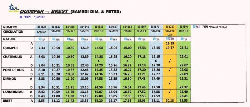 BREST / QUIMPER Horaires des circulations ferroviaires à compter du 10 décembre 2017 Image028