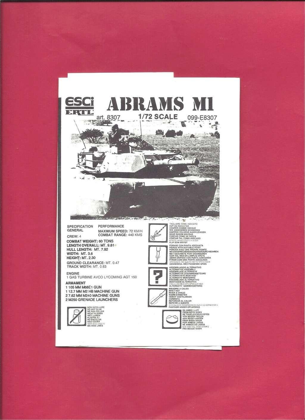 [ESCI ERTL] Char ABRAMS M1 1/72ème Réf 8307 Notice Esci_e10