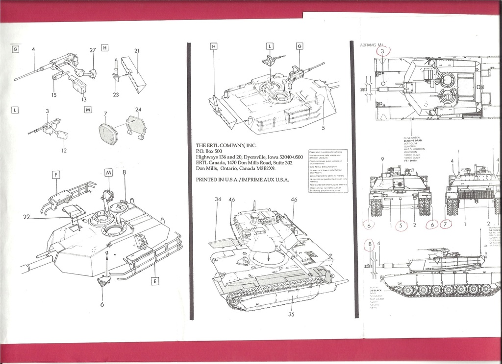 [ESCI ERTL] Char ABRAMS M1 1/72ème Réf 8307 Notice Esci_e13