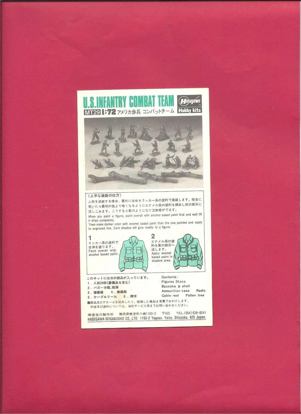[HASEGAWA] Infanterie US 1/72ème Réf MT29 Notice Hasega21