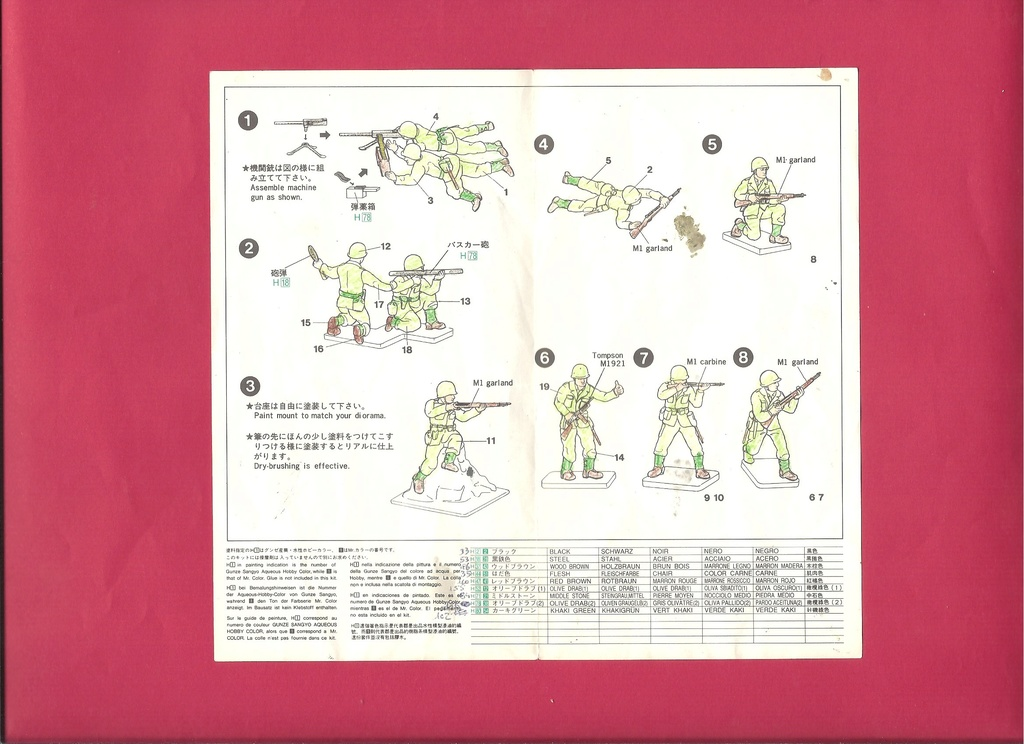 [HASEGAWA] Infanterie US 1/72ème Réf MT29 Notice Hasega22