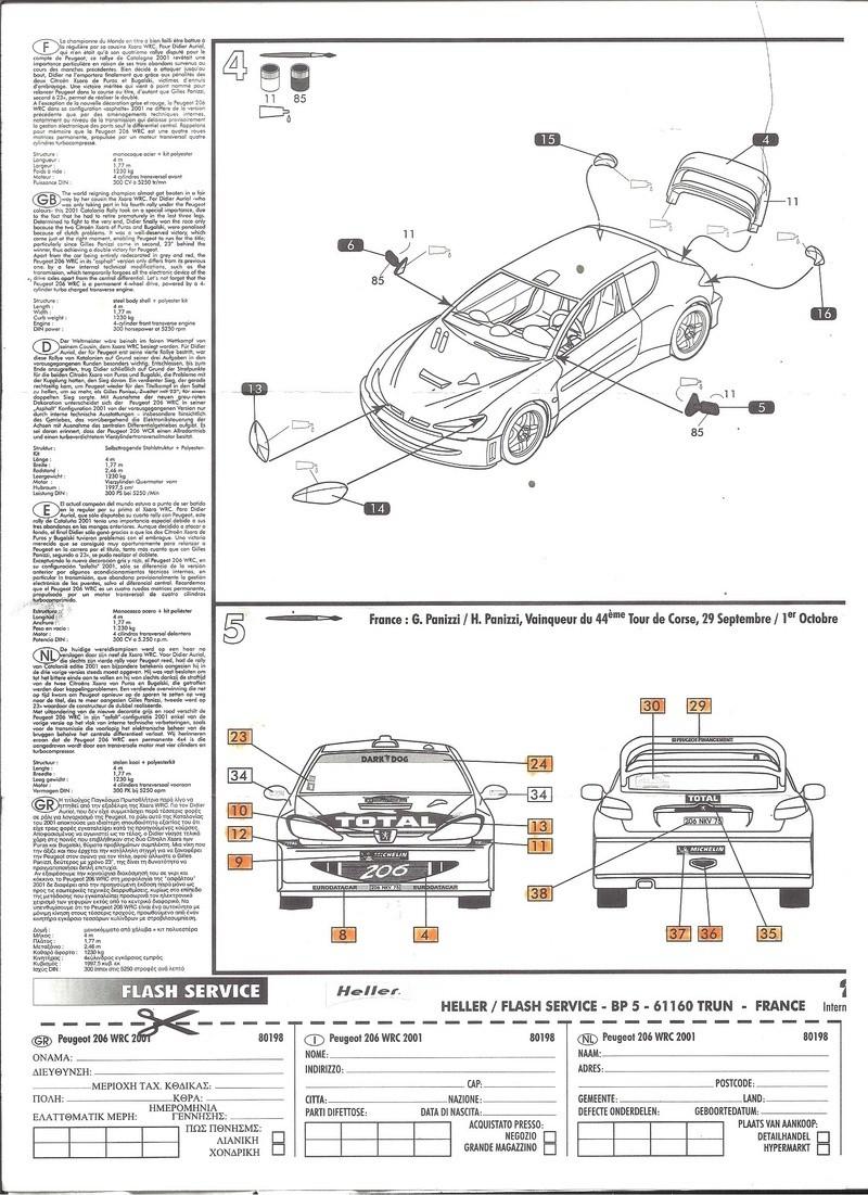PEUGEOT 206 WRC 1/43ème Ref 80198 Notice Helle182