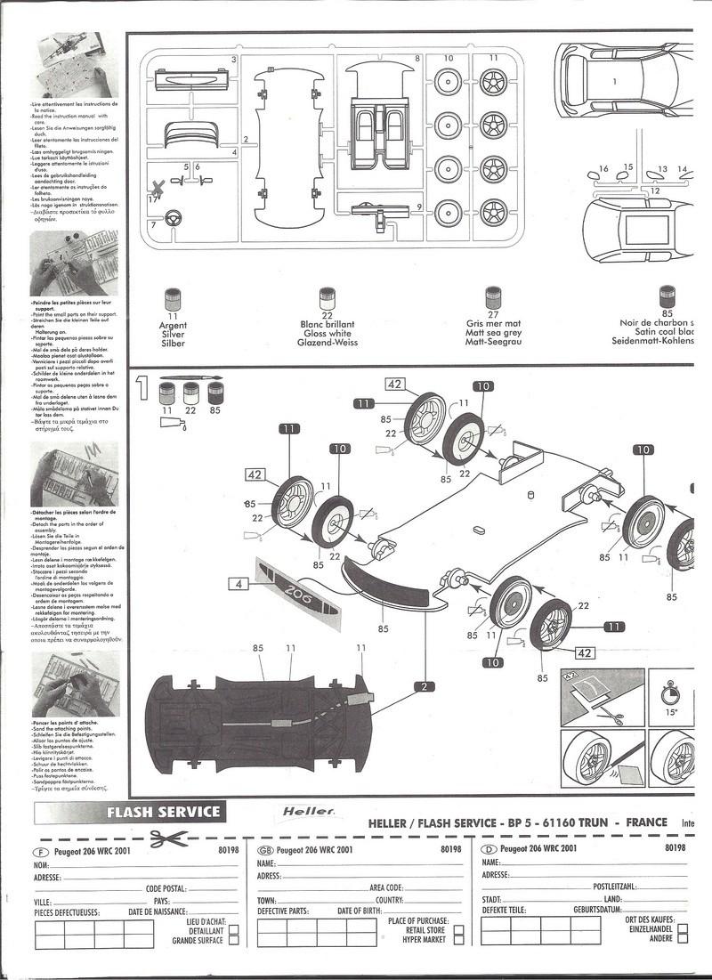 PEUGEOT 206 WRC 1/43ème Ref 80198 Notice Helle183