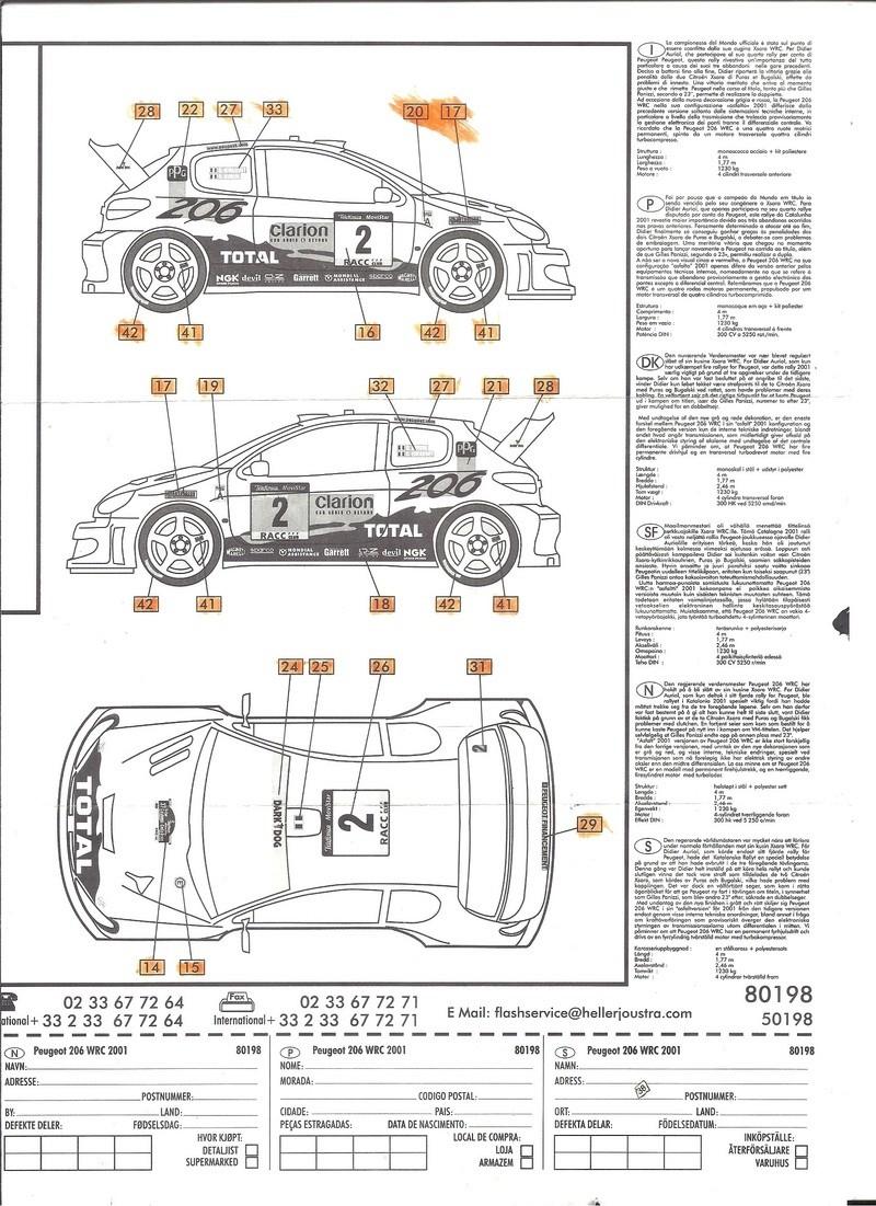 PEUGEOT 206 WRC 1/43ème Ref 80198 Notice Helle184