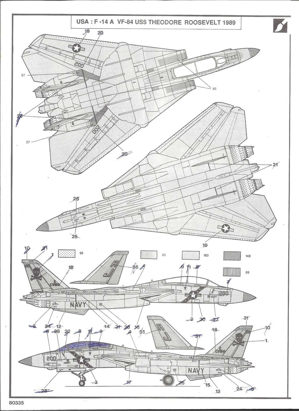 GRUMMAN F 14 A 1/72ème Réf 80335 Notice Helle188