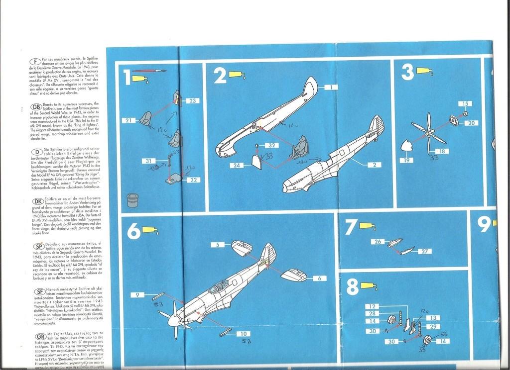 SUPERMARINE SPITFIRE MK XVI  1/72ème Réf 80282 Notice  Helle204