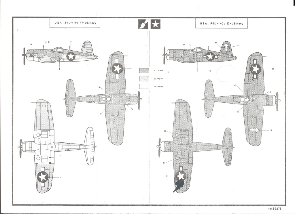 VOUGHT F4U 1 CORSAIR 1/72ème Réf 80275 Notice Helle211