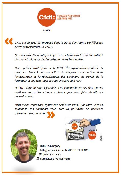Affichage C.F.D.T élections professionnelles FLUNCH 2017 Tract_12