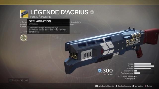 Obtenir le fusil à pompe exotique Légende d'Acrius Destin26