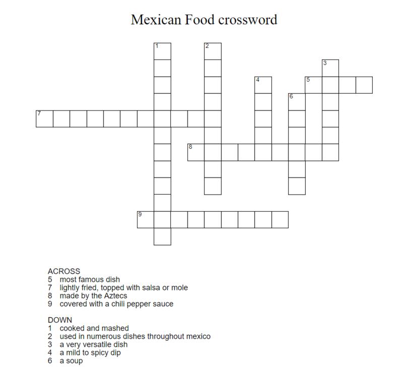 La Comida De Mexico! Crossw10